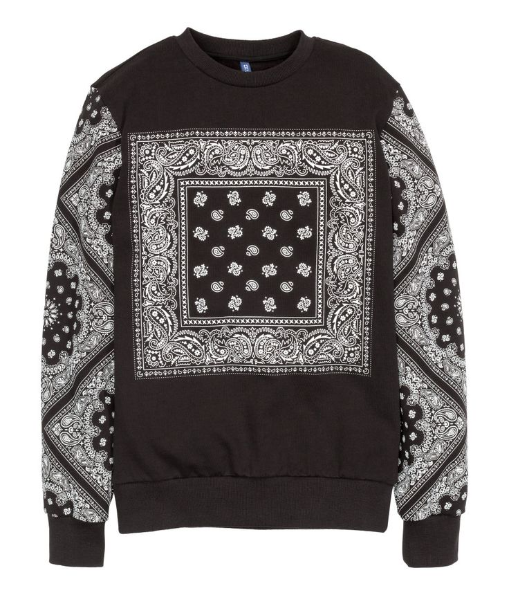 Black long-sleeved sweatshirt with printed handkerchief design & brushed inside.│ H&M Divided Guys