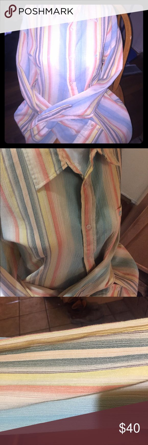 French Connection beautiful casual button up Look and feel absolutely gorgeous with this rainbow tie die classic French Connection look French Connection Shirts Casual Button Down Shirts