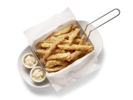 """<p>Austin</p> <p>Hyde Park Bar & Grill, Hyde Park Fries</p> : <p>Bick Brown is fanatical about french fries, and when he opened Hyde Park Bar & Grill in 1982, he wanted the place to be famous for them. His are soaked in buttermilk, then breaded and fried, and served with his special sauce: a mix of mayo, jalapenos and dill. The sauce originally came on a chicken sandwich, but customers liked it so much they started requesting extra for their fries. """"Now if we don't bring it out with their…"""