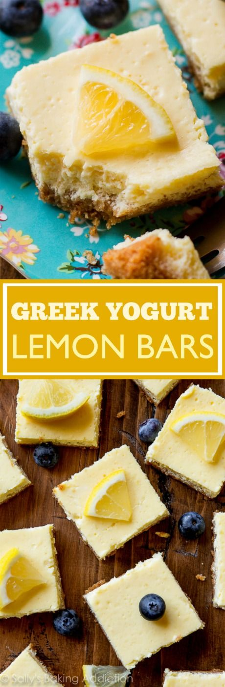 Creamy and tangy lemon bars made with Greek yogurt-- only 130 calories! Easy recipe on sallysbakingaddiction.com