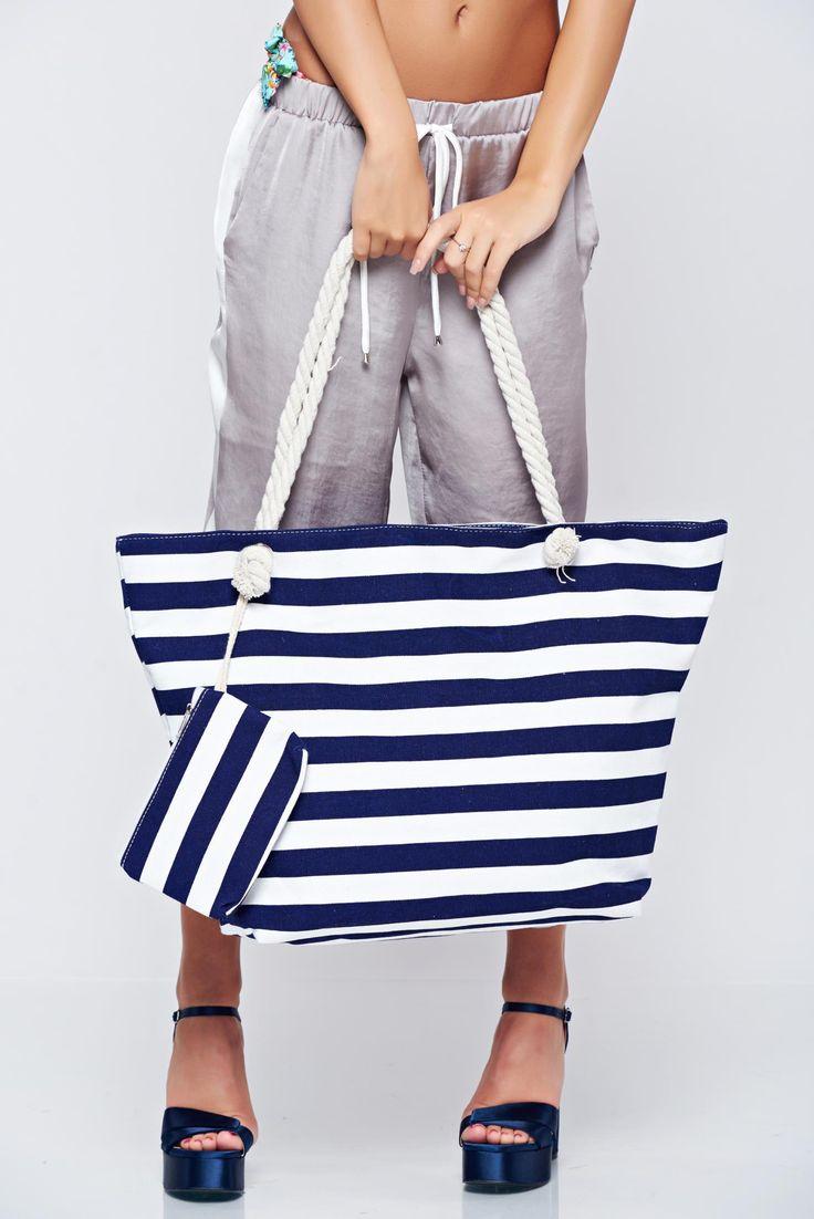 Comanda online, Geanta dama de plaja albastru-inchis cu dungi orizontale. Articole masurate, calitate garantata!