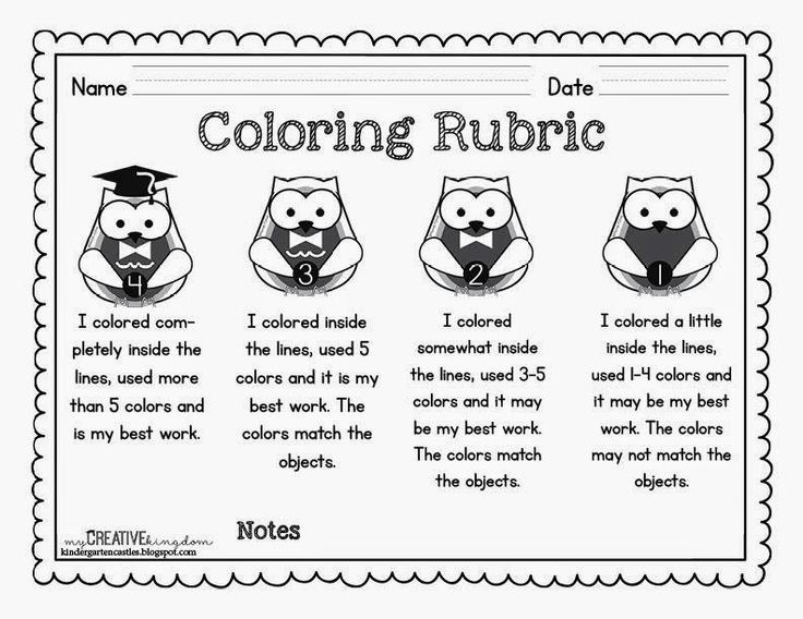 Kindergarten Rubrics - Free Coloring Rubric