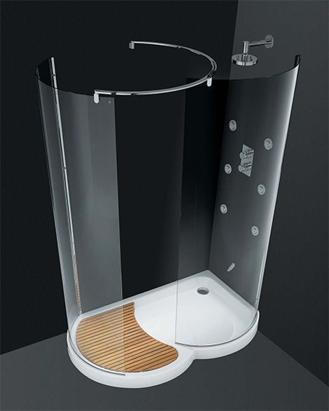 Eliminate the dangerous problem of slippery bathroom floors with this Walk-In Shower by Cesana; the Eclisse curved shower enclosures with a walk-in area. Designer Piet Billekens has pared down...