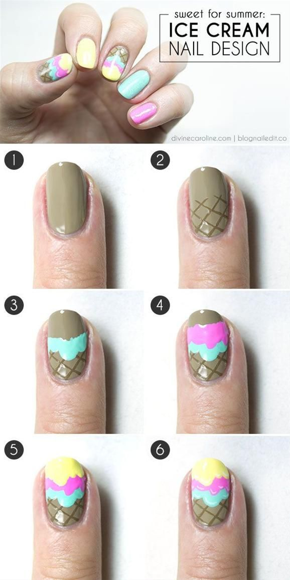 Ice Cream Nail Art Tutorial - Head over to Pampadour.com for more fun and cute nail art designs! Pampadour.com is a community of beauty bloggers, professionals, brands and beauty enthusiasts! #nails #nailpolish #polish #nailart #naildesign #cute #fun #pretty #howto #tutorial #beauty #manicure #icecream