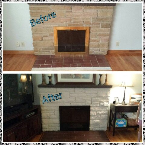 Whitewashing/graywashing stone + heat resistant spray paint on brass = new updated look! (Oh and new tile for hearth!)