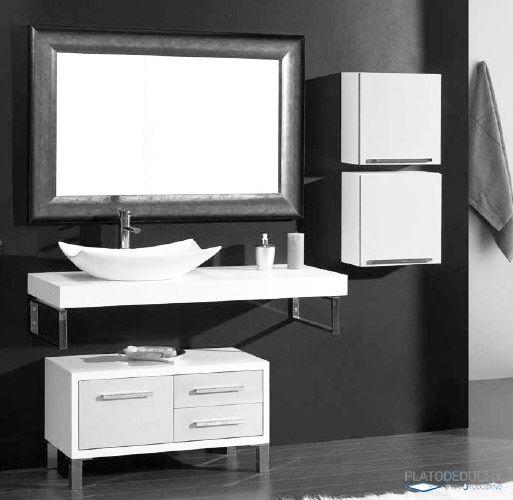 mueble de bao lupi compuesto por la encimera lavabo espejo y mdulo bajo