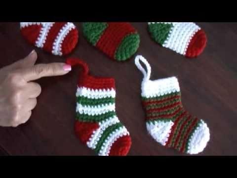 Video tutorial de las medias o botitas navideñas tejidas a crochet
