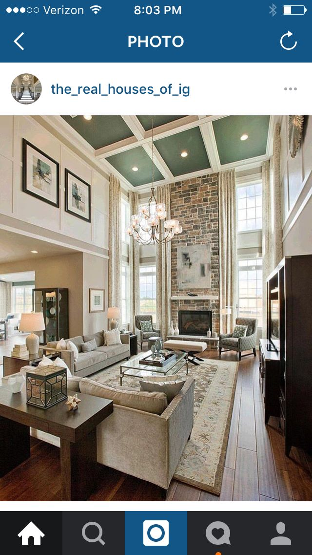 Two story family room with board and batten molding and coffered ceiling Best 25  Two story fireplace ideas on Pinterest   Large living  . Great Room With Fireplace. Home Design Ideas