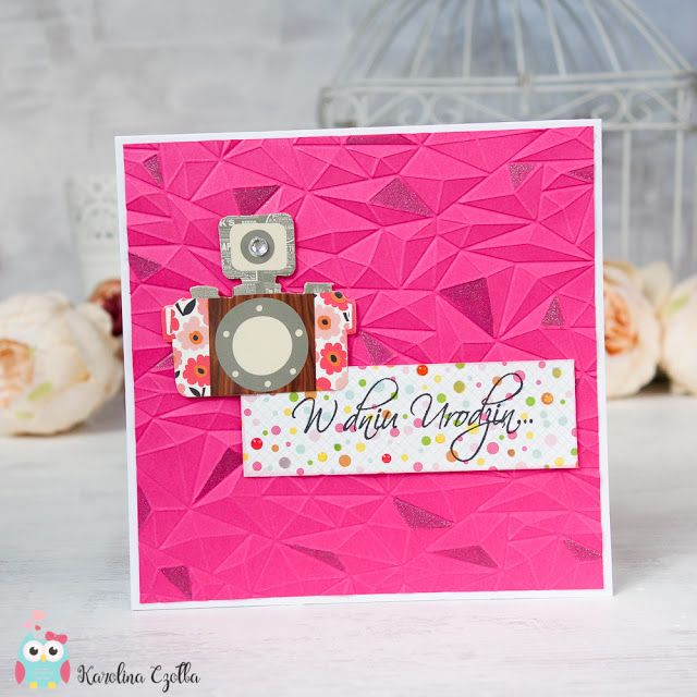 Sweet pink card with We R Memory Keepers embossing folder and wink of stella marker, #card #cardmaking