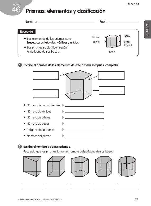 Refuerzo Matematicas 4º De Primaria Con Imagenes Prismas Y