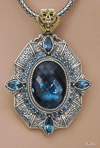 Konstantino 18K Gold 925 SS London Blue Topaz Pendant Necklace