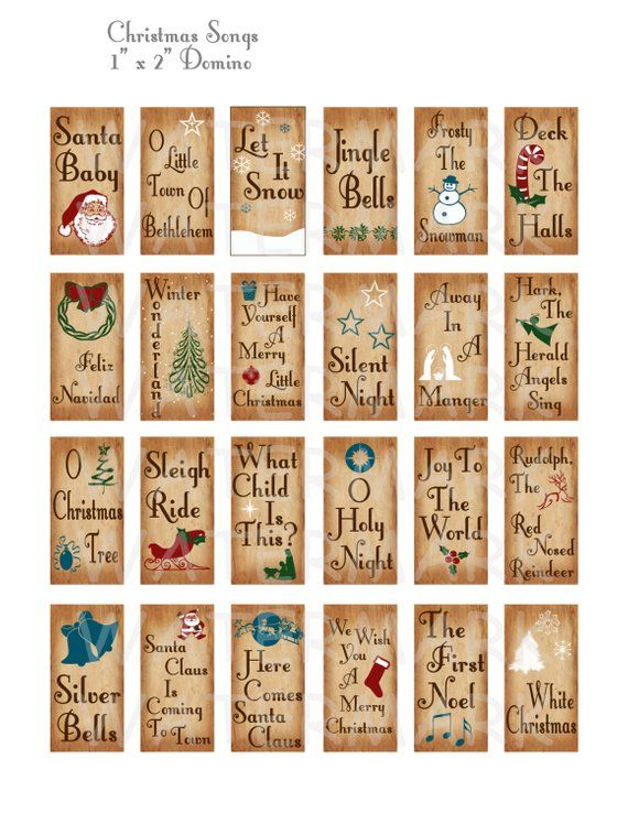 Weihnachtslieder – Digital Collage Sheet – 1 x 2 Zoll Domino – INSTANT DOWNLOAD