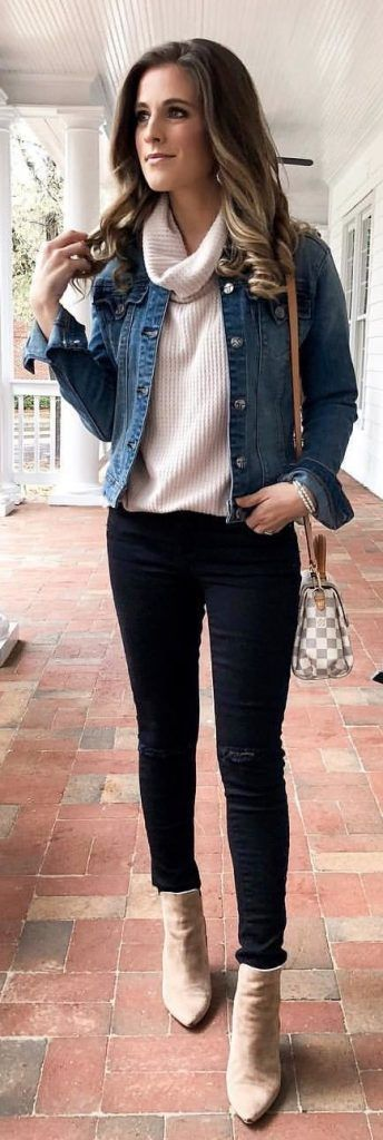 #Winter #Outfits / Blue Jeans Jacket - Turtle Neck