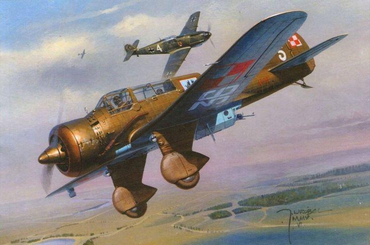 Lotnictwo II RP PZL.23 Karaś – polski lekki samolot bombowy. 22 Eskadra Bombowa, Radom 3 września 1939. Rys. Jaroslaw Wróbel. https://www.facebook.com/wojskopolskie19391945/photos/a.378968358968176.1073741830.376641135867565/378716832326662/?type=1