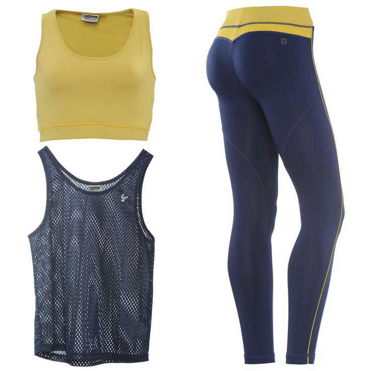 FREDDY WR.UP  SPORT 7/8 PANT + TOP + TANK - Navy/Yellow - LIVIFY