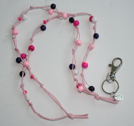 Avainnauha #5 by Miss Piggy / Key chain, ID holder, made with wooden beads and waxed cord
