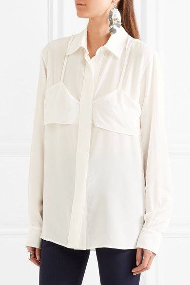 Victoria Beckham - Layered Silk Crepe De Chine Shirt - Ivory - UK12