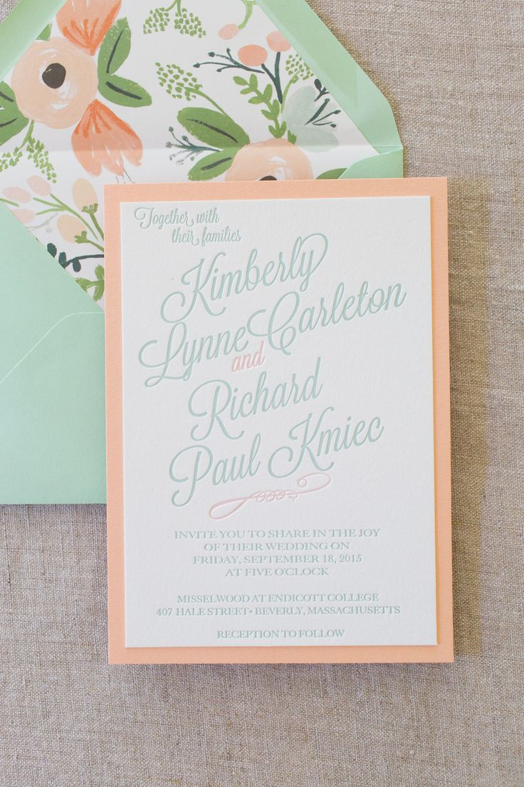 Mint and Peach mounted letterpress wedding invitations