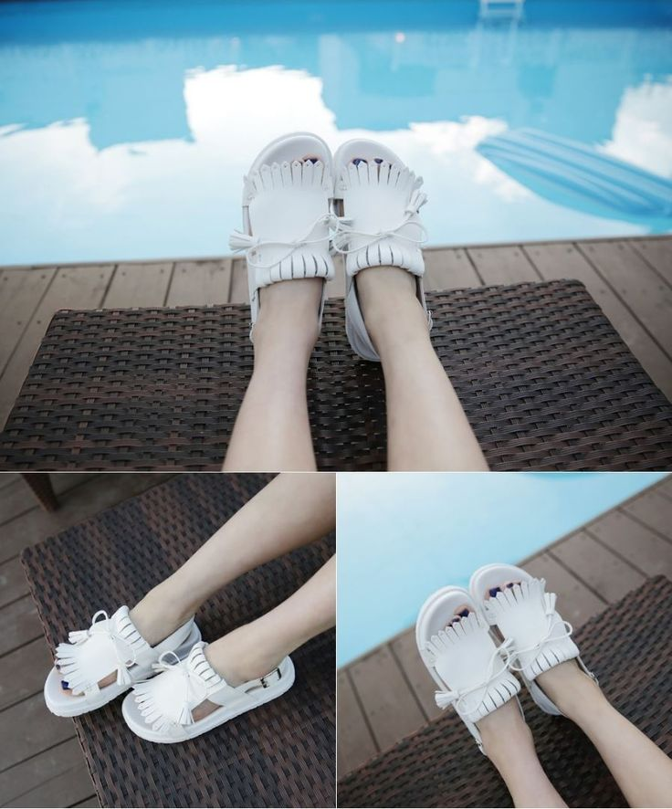 Dress Up Confidence! 66girls.us Kilted Tassel Accent Sandals (DHZB) #66girls #kstyle #kfashion #koreanfashion #girlsfashion #teenagegirls #younggirlsfashion #fashionablegirls #dailyoutfit #trendylook #globalshopping