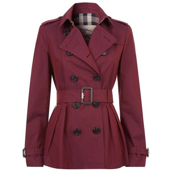 Burberry London Edenbridge Short Trench Coat (1 555 AUD) ❤ liked on Polyvore featuring outerwear, coats, jackets, coats & jackets, casacos, burberry, purple coat, checkered coat, military trench coat and short coat