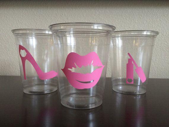 12 oz Lady Cups - Bridal Shower, Bachelorette Party, Paper Plates, Lips Theme, Red Lips Pink Lips Heels, Lipstick Lip Gloss, Hearts Princess