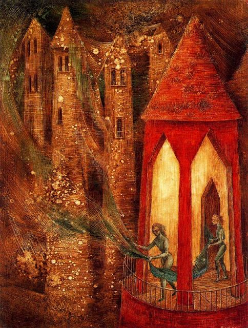"(Waterhouse Hall.)  Remedios Varo: ""La tarea"". 1955"