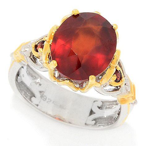 159-195 - Gems en Vogue 3.78ctw Hessonite Garnet Cocktail Ring