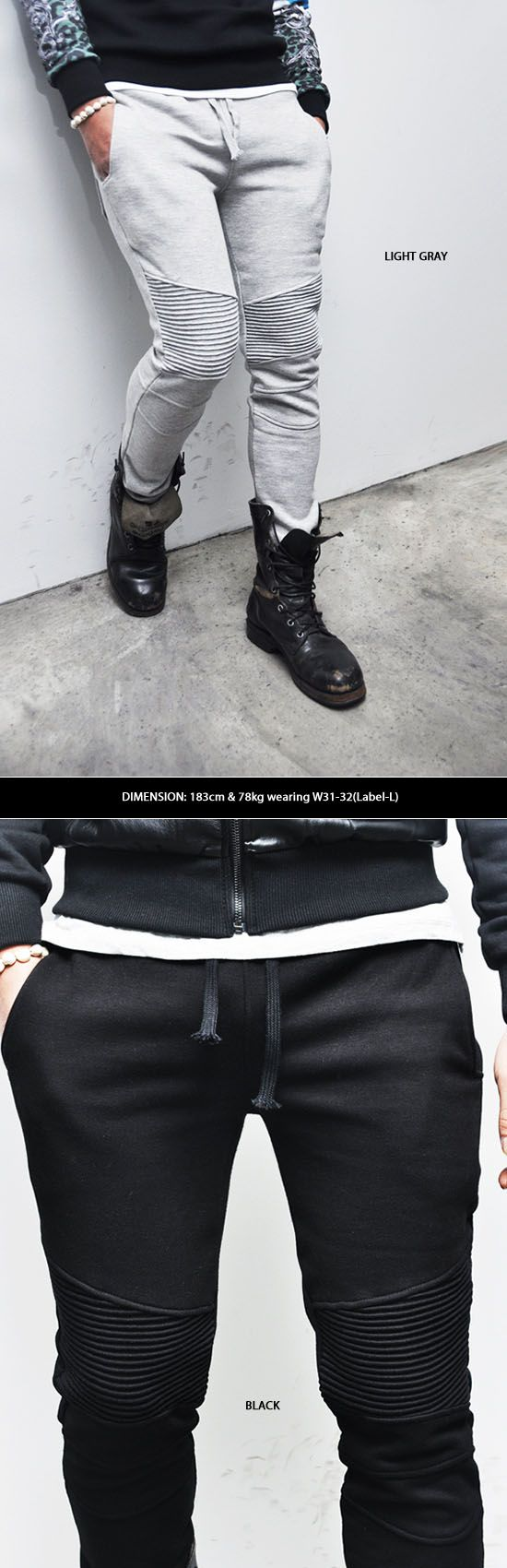 Bottoms :: Sweatpants :: Designer Homme Seaming Slim Biker-Sweatpants 87 - Mens Fashion Clothing For An Attractive Guy Look