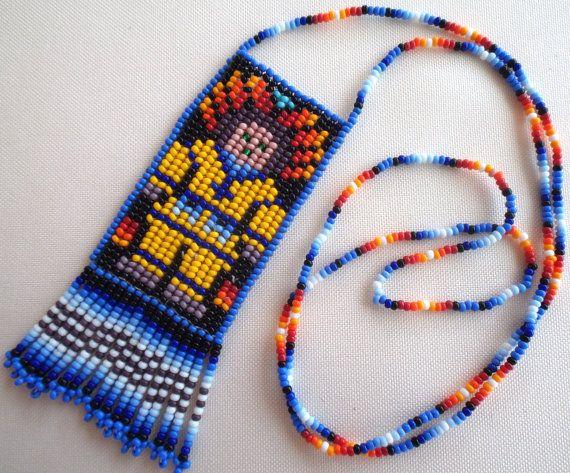 Mexican Huichol Loom Beaded Marakame Shaman necklace por Aramara