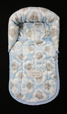 Blankets And Beyond Blue White Grey Owls Baby Head Support