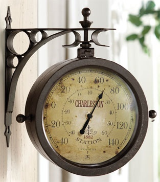 double sided outdoor clock/thermometer