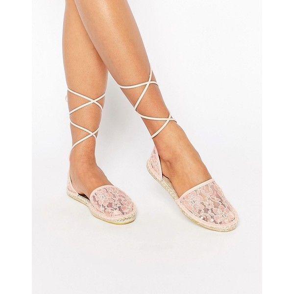 ASOS JULIET Tie Leg Lace Espadrilles (1.910 RUB) ❤ liked on Polyvore featuring shoes, sandals, orange, espadrille sandals, orange flats, orange shoes, lace up espadrilles flats and lace flats