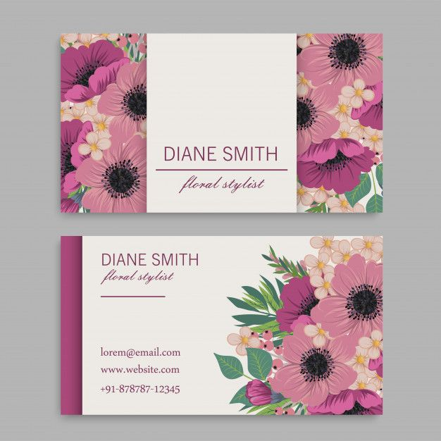Download Business Card Template With Pink Flowers Template Vector Illustration For Free Floral Business Cards Visiting Card Design Business Card Template