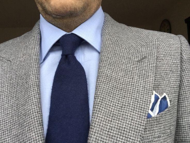 costume SuitSupply, chemise Olga Milano MTO, cravate Howards, pochette J Crew