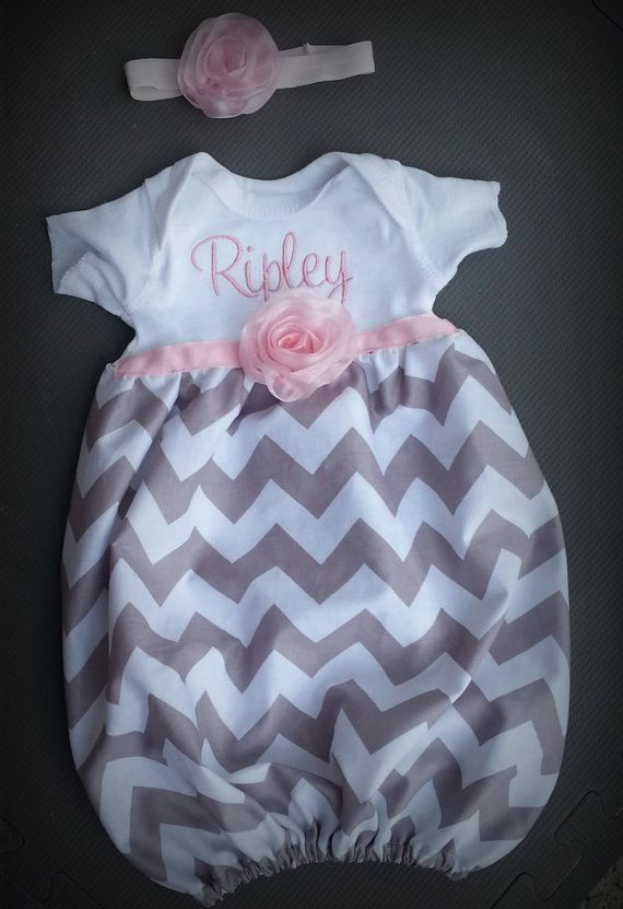 Baby layette gown, diva sack, coming home outfit, chiffon rose, gray chevron. newborn baby girl on Etsy, $35.00