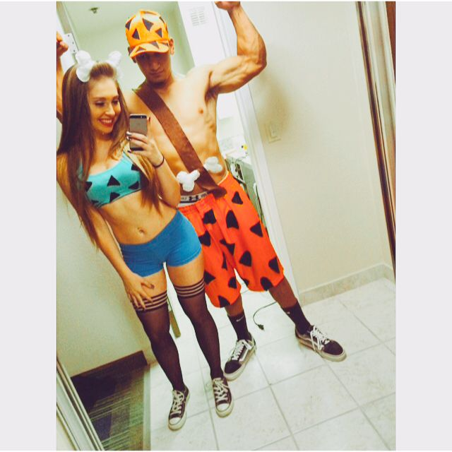 Pebbles and Bam Bam Halloween couple costume. #Rave