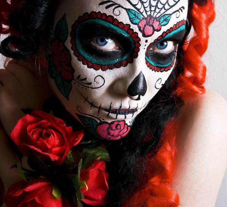 Woman With Sugar Skull Makeup Stock Of Muertos Iwank 1