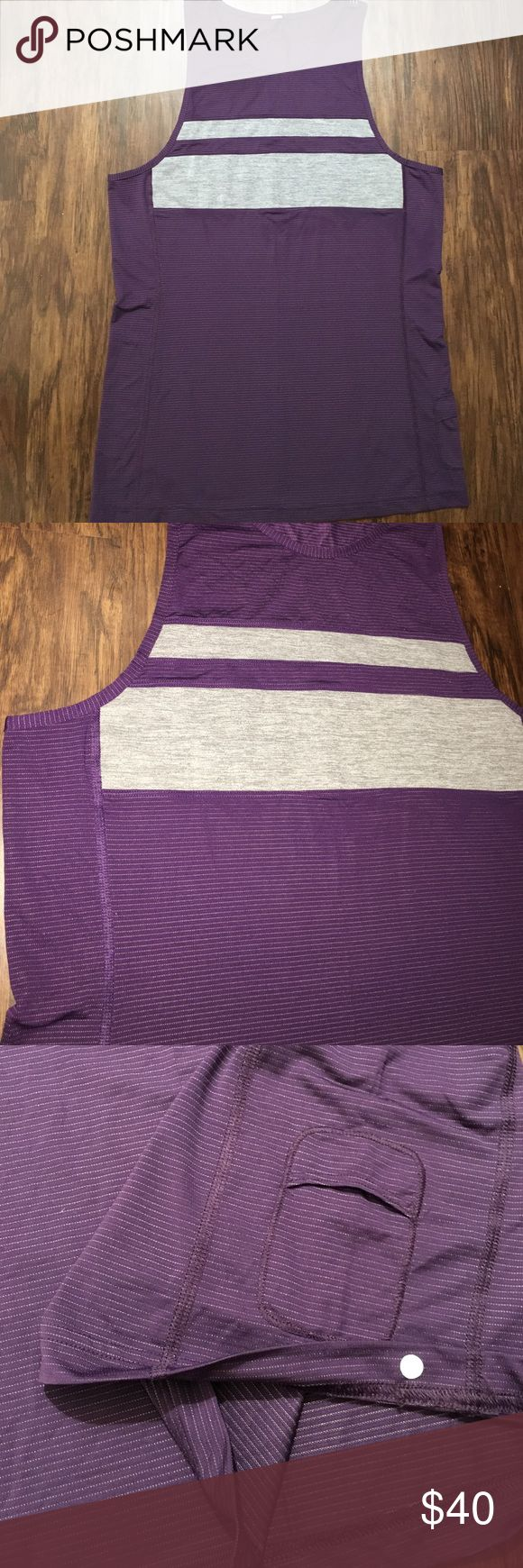 New lululemon tank metal shirt men's Sz m This is a new stripe sleeveless shirt dark purple with gray lululemon athletica Shirts Tank Tops