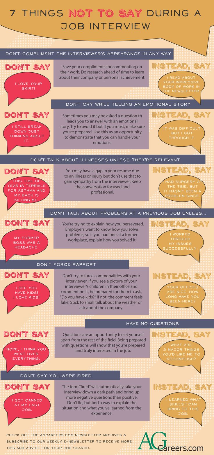 7 Things Not to Say During an Interview --- There are plenty of ways to keep things positive during your interview. Focus on your skills and what you can bring to the job. --- Job-seeking is difficult, but HugSpeak can help make it easy. Our personalized coaching covers everything from resumes and cover letters to social media and practice interviews. We'll help you land that dream job! www.HugSpeak.com