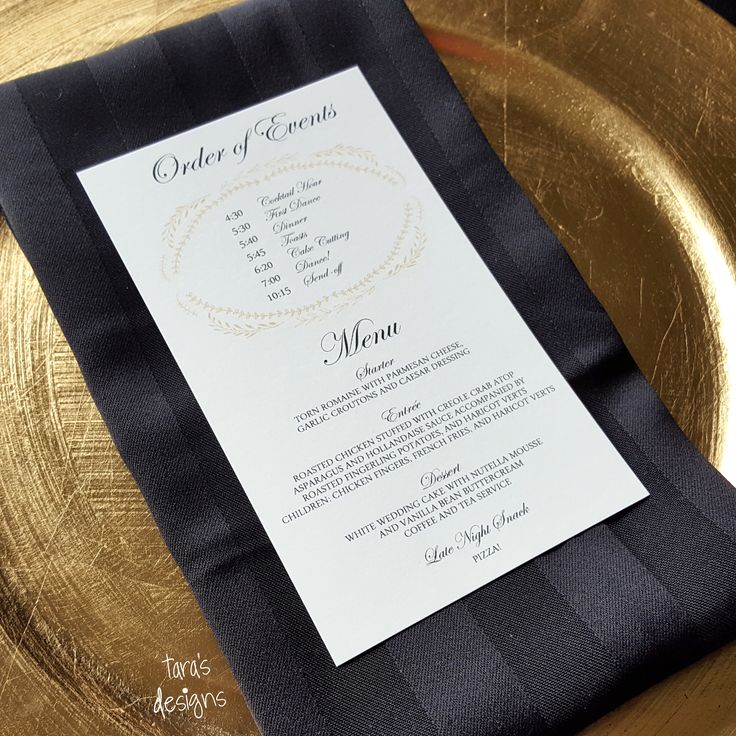 wedding reception order of events and menu card black and gold, floral wreath