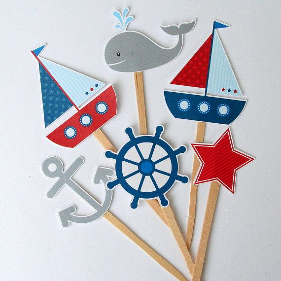 Nautical Birthday Party Cupcake Toppers Set of por PaperPartyParade
