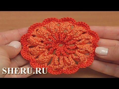 Вязаный цветок с объёмными лепестками Урок 32 Irish Crochet 3D Flower Pa...