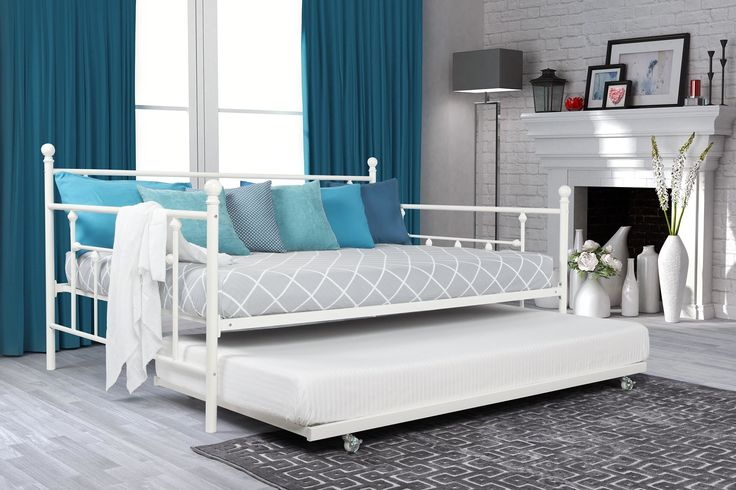 Features:  -Designed to fit one full size mattress and one twin size mattress – sold separately.  -Does not require additional foundation.  -Finial detailing.  -Ideal for accommodating guests especial