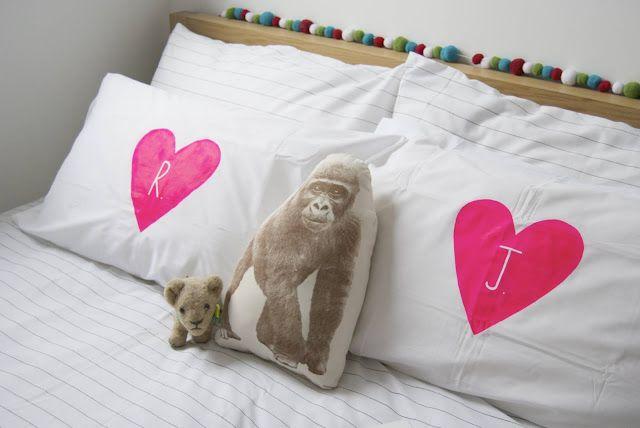 {#DIY} neon pink heart letter pillows!