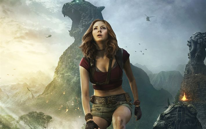 Download wallpapers Jumanji, Welcome to the Jungle, 2017, Ruby Roundhouse, Karen Gillan, American actress, poster, new movies