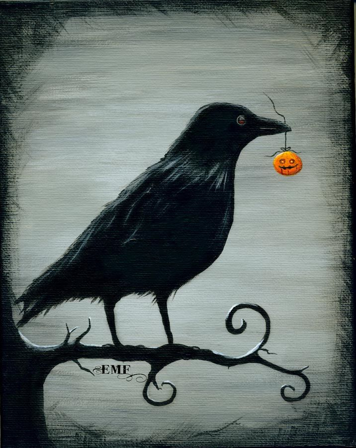 "A tattoo design like this would be sweet! Halloween art, ""Crow's Treasure"" digital art print. $20.00, via Etsy."