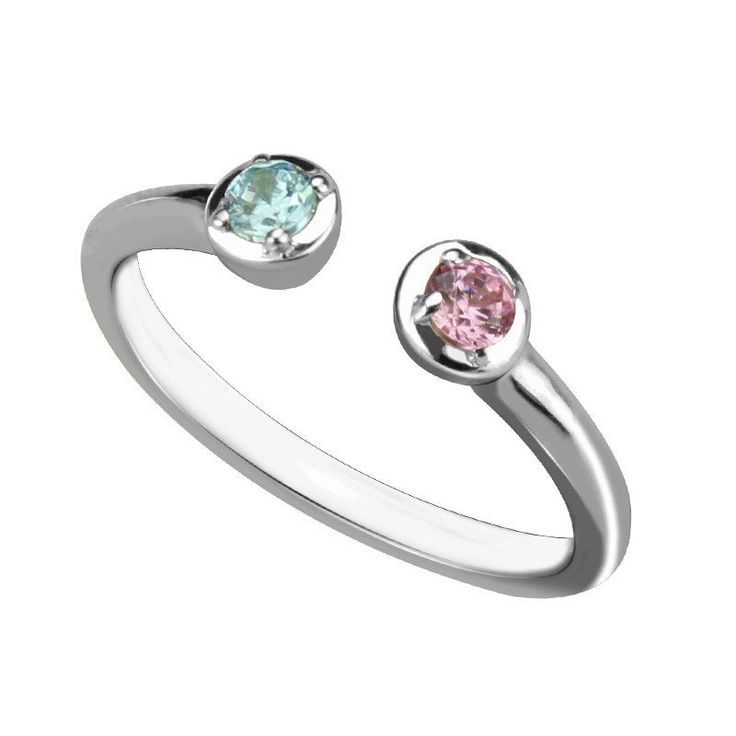 Dual Personalised His and Her Birthstone Promise Rings (3 Colors)