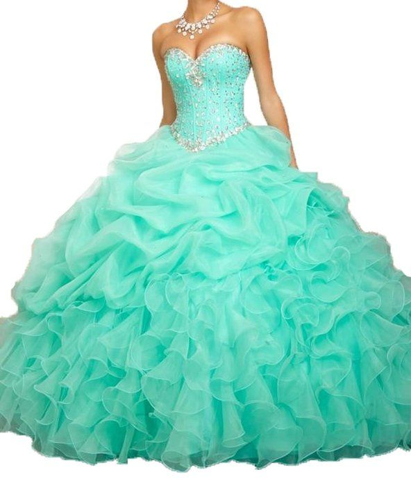 Romantic Women's Beaded Ball Gown Sweetheart Quinceanera Dress Formal Prom Gowns (2, Mint Blue)