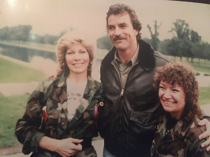 My grandma (left) with Tom Selleck at a POW/MIA rally in D.C. 1984
