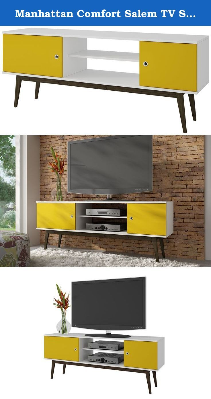 Manhattan Comfort Salem TV Stand Collection Free Standing Flat Screen TV Stand with Storage Entertainment Center with Wooden Splayed Legs, White/Yellow. Let your home be more beautiful with the Salem TV Stands for Flat Screens with Storage Collection by Manhattan Comfort. The Salem TV Stand with Storage Collection is part of a retro style collection designed to create and energetic atmosphere. This 50 inch TV Stand is made of high quality MDP with colorful finishes. Flat screen TV stand…